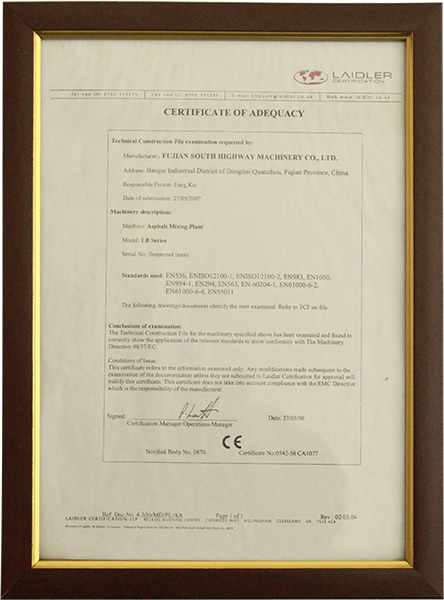 2009年certificate of adequacy