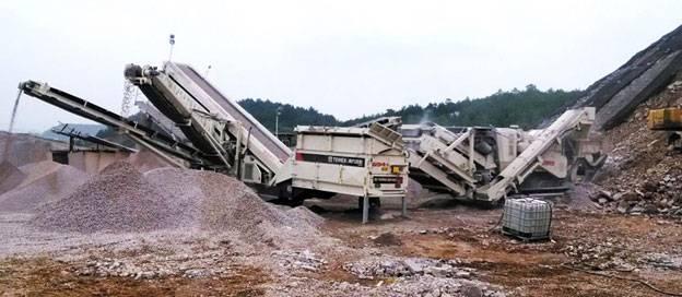 南方路機移動破碎生產線應用于 貴州貴陽碎石骨料破碎、路基底層、水穩層